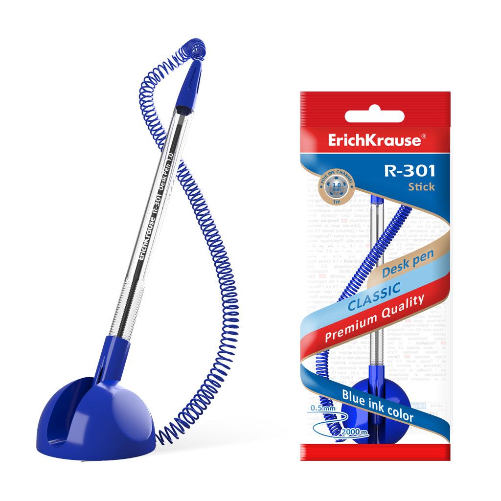 """Анонс-изображение товара ручка шариковая настольная erichkrause """"r-301 desk pen"""" синяя, 1,0мм, синий корпус, 46434"""